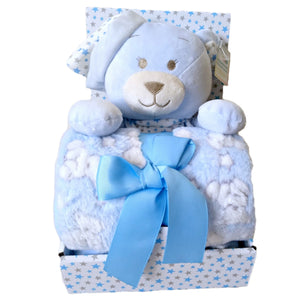 Baby Gift Set Shower Boy Blue Teddy Bear Blanket Soft Stars Pastel Plush Sets