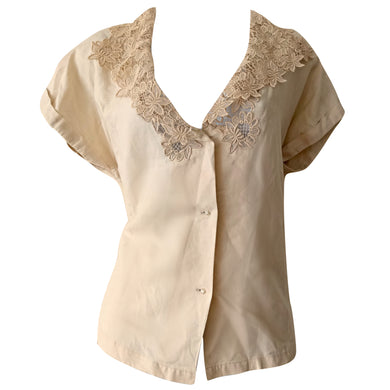 Retro Crochet Top Collar Lacy Button Beige Blouse Tan Buttons Vintage Size Large