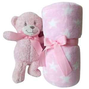 Baby Gift Set Shower Girl Pink Teddy Bear Blanket Soft Stars Pastel Plush Small