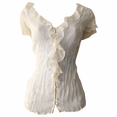 Sheer Blouse Ruffled Ivory Embroidered Tissue Crinkle Buttons Frilly Size Medium