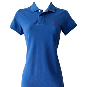 Ralph Lauren Dress Polo Shirtdress Tshirt Blue Collared Casual Logo Size XS