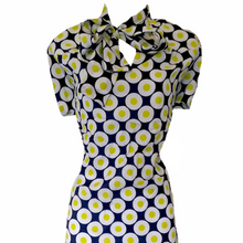 Load image into Gallery viewer, Vintage 60s Dress Pussy Bow Circles Mod Tie Neck Bow Size Large