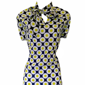 Vintage 60s Dress Pussy Bow Circles Mod Tie Neck Bow Size Large