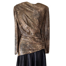Load image into Gallery viewer, Vintage Dress 70s 1970s Disco Gold Leopard Print Retro Bronze Shiny Size Medium