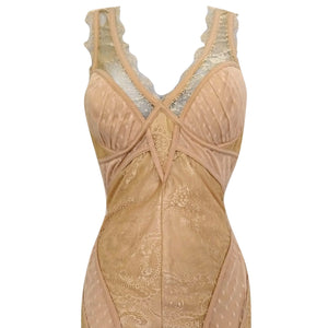 Bebe Dress Bodycon Lace Lacy Beige Strappy Blush Ivory Stretch Fitted Size Small
