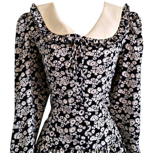 Vintage Sailor Dress 60s Leslie Fay 1960s Navy Collar Floral Nautical Size Small