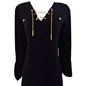 Michael Kors Dress Blue Navy Chain Stretch Gold Lace Up Three Quarter Size Small
