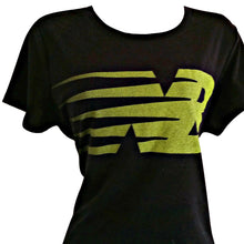 Load image into Gallery viewer, New Balance Tee Top Teeshirt Logo Black Lime Green Workout Exercise Size Large