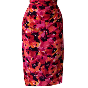 Ralph Lauren Dress Floral Pink Orange Cowl Stretch Sleeveless Ruched Size Medium