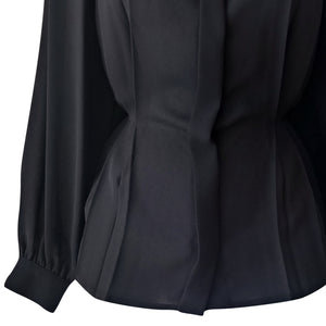 Vintage Black Top Blouse Windsmoor 80s 1980s Satin Peplum Diamond Size Large