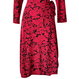BCBG Dress Wrap Red Floral Black Roses Plunge V Neck Midi Mididress Size Large