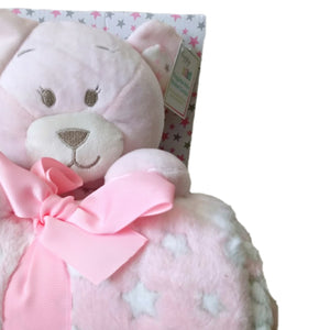 Baby Gift Set Shower Girl Pink Teddy Bear Blanket Soft Stars Pastel Plush Sets