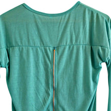 Load image into Gallery viewer, Exposed Zipper Top Green Long Sleeved Tshirt Tee Shirt Emerald Size Small