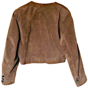 Vintage Leather Jacket Genel London 80s Rust Brown Cropped Retro Size Medium