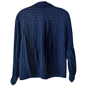 Vintage Blouse Striped Blue 80s 1980s Black Button Up Long Sleeves Size Medium