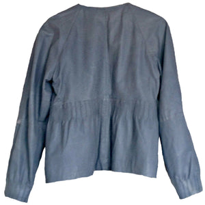 Leather Jacket Grey Part Two Buttons Button Truly Girly Peasant Boho Size Medium