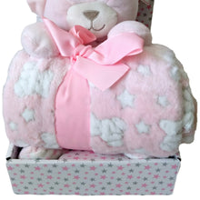 Load image into Gallery viewer, Baby Gift Set Shower Girl Pink Teddy Bear Blanket Soft Stars Pastel Plush Sets