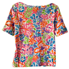 Load image into Gallery viewer, Ralph Lauren Top Floral Colourful Bright Tee Tshirt Shirt Zipper Zip Size Small