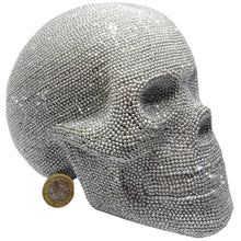 Load image into Gallery viewer, Crystal Skull Silver Glitter Large Art Figurine Jewelled Textured Sparkly Gothic
