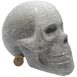 Crystal Skull Silver Glitter Large Art Figurine Jewelled Textured Sparkly Gothic