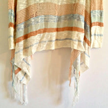 Load image into Gallery viewer, Striped Fringe Cardigan Open Crochet Fringed Blue Mint Orange Stripes Size XS
