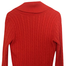 Load image into Gallery viewer, Ralph Lauren Jumper Silk Cashmere Cable Knit Orange Shawl Collar Size Medium
