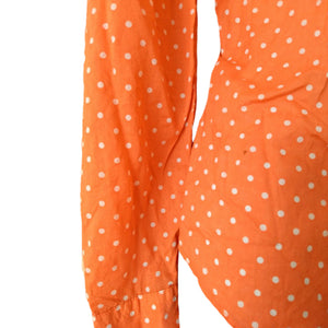 Ralph Lauren Shirt Top Orange Polka Dot Coral Button Up Buttons Size Medium