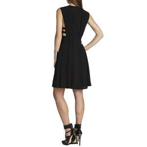 BCBG Dress Black LBD Cutout Sides Peekaboo Strappy V Neck Max Azria Size XS