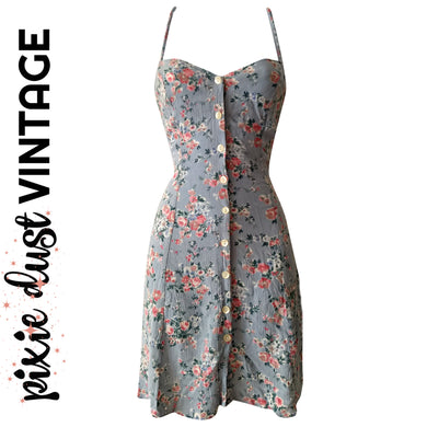 Vintage Floral Dress Mini Minidress Slip Slipdress 90s 1990s Roses Size Small