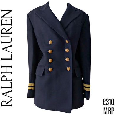 Ralph Lauren Coat Wool Peacoat Jacket Military Nautical Navy Blue Size Medium