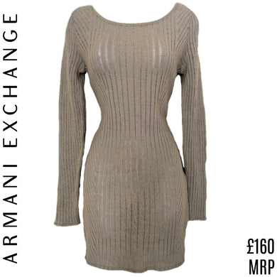 Armani Dress Jumper Exchange Tunic AX Grey Mini Knit Long Sleeves Size Medium