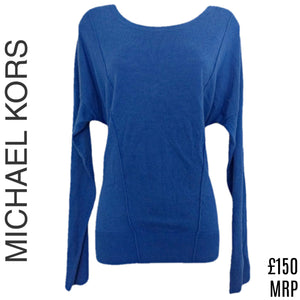 Michael Kors Jumper Blue Top Dolman Oversized Bat Wing Batwing Size Medium