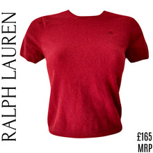 Load image into Gallery viewer, Ralph Lauren Top Wool Cashmere Angora Red Jumper Knit Belly Cropped Size Small