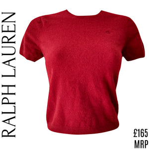 Ralph Lauren Top Wool Cashmere Angora Red Jumper Knit Belly Cropped Size Small