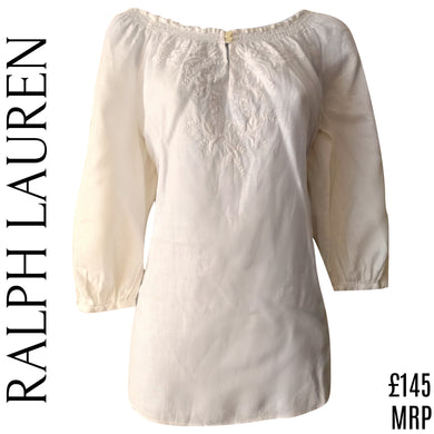 Ralph Lauren Top Blouse Linen White Boho Bohemian Bardot Embroidered Size Small