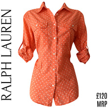 Load image into Gallery viewer, Ralph Lauren Shirt Top Orange Polka Dot Coral Button Up Buttons Size Medium