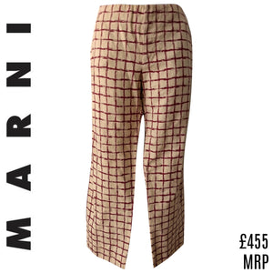 Marni Trousers Check Plaid Checked Tan Red Designer Beige Button Size Small