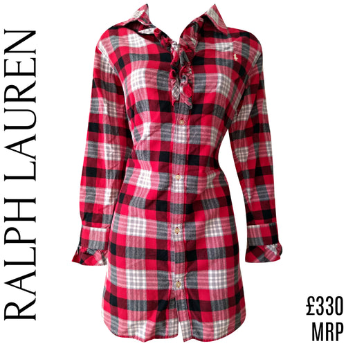 Ralph Lauren Dress Check Buffalo Flannel Ruffle Collared Red Ruffled Size Small