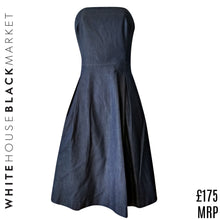 Load image into Gallery viewer, White House Black Market Dress Denim Strapless Skater Flared Full Size Small
