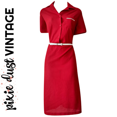 Vintage Dress Red Belted 70s 1970s Shirtdress Shirt Midi Buttons Size Medium