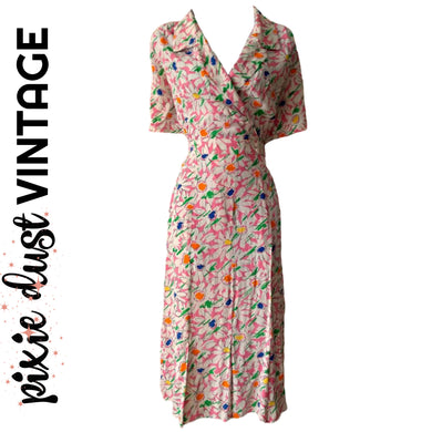 Vintage Dress Floral Pink Daisies 80s 1980s Retro 40s Style Midi Size Medium