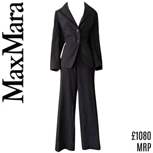 Max Mara Suit Wool Womens Trousers Trousersuit Blazer Coat Dark Grey Size Medium