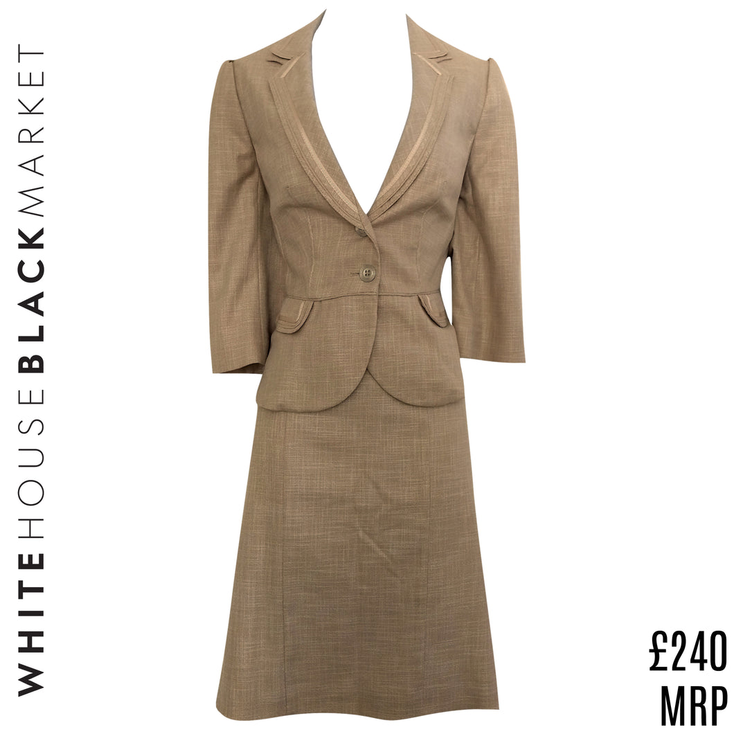 White House Black Market Suit Blazer Skirt Peplum Jacket WHBM Beige Size Small