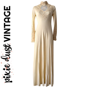 Vintage Wedding Dress Gown Boho High Neck Victorian 1970s 70s Ivory Size 2XS