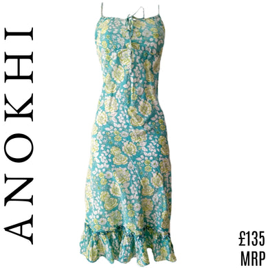 Anokhi East Dress Roses Strappy Floral Aqua Sundress India Straps Size Medium