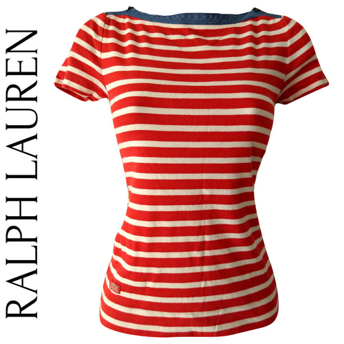 Ralph Lauren Top Nautical Striped Stripe Tee Tshirt Tee Shirt Red White Size XS