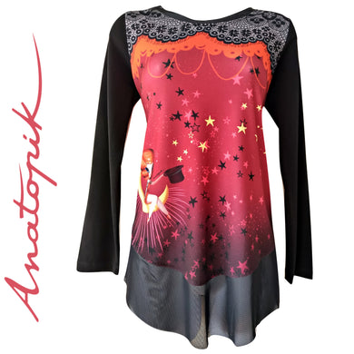 Anatopik Top Tunic Blouse Moon Stars France Designer Graphic Top Hat Size Small