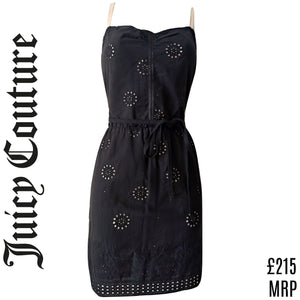 Juicy Couture Dress Black Mini Eyelet Strappy Belt Tie Embroidered Size Small