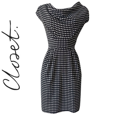 Closet Dress Polka Dot Spotted Black White Mini Cowl Tulip Hourglass Size Medium