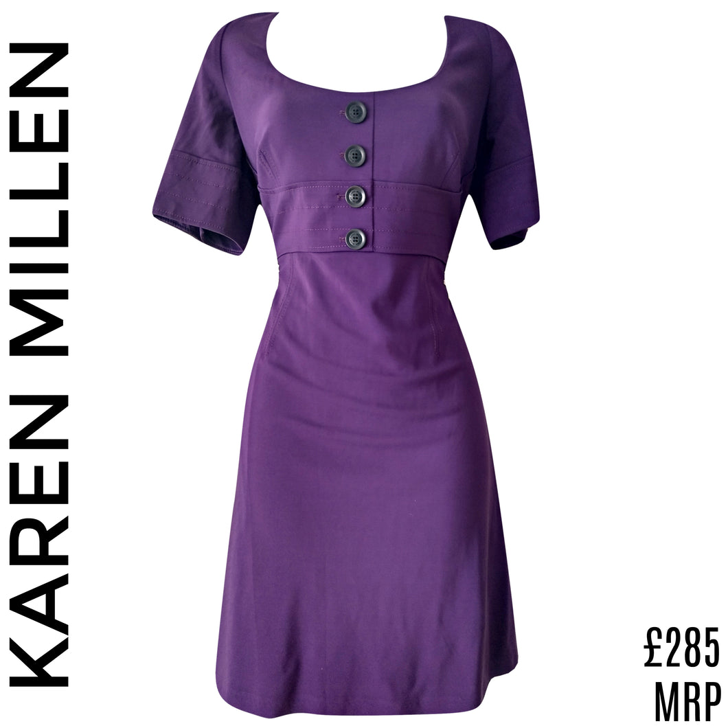 Karen Millen Dress Purple Half Sleeve Buttons Knee Length Empire Size Large
